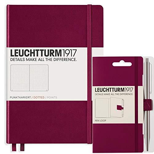 Notizbuch A5 dotted von Leuchtturm1917 in port red | komplett mit penloop/Stiftehalter von Leuchtturm 1917 | Kladde (notebook) auch perfekt als Tagebuch oder Bullet Journal