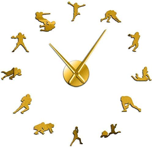 YILUXIANG Wall Clock Creative Stickers Gift Vinyl 27Inch Retro American Football Rugby Wall Art Big Time Clock Watch Football Sportsman Portrait for Him