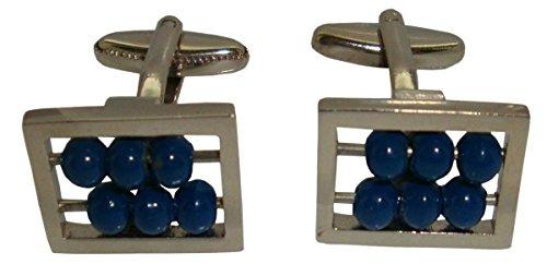 Bassin and Brown Argent/Bleu Abacus boutons de manchette de