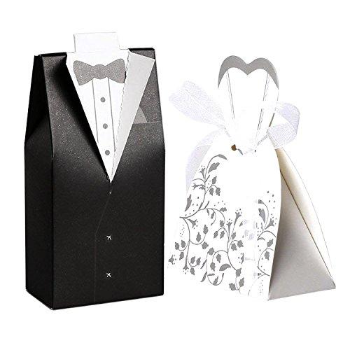 FLOWOW 100pz scatoline portaconfetti matrimonio Carta di Bomboniera Per matrimonio nozze anniversario fidanzamento porta confetti sposa sposo 50 pezzi Sposa(con nastrino) 50 pezzi Sposo