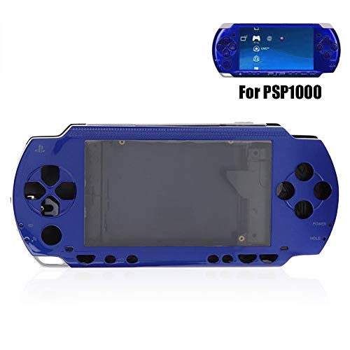 Mavis Laven Full Housing Case Cover für PSP, Ersatz-Anti-Drop-Shell-Set mit Tasten-Kit für PSP 1000-Ersatz-Shell (Blau)