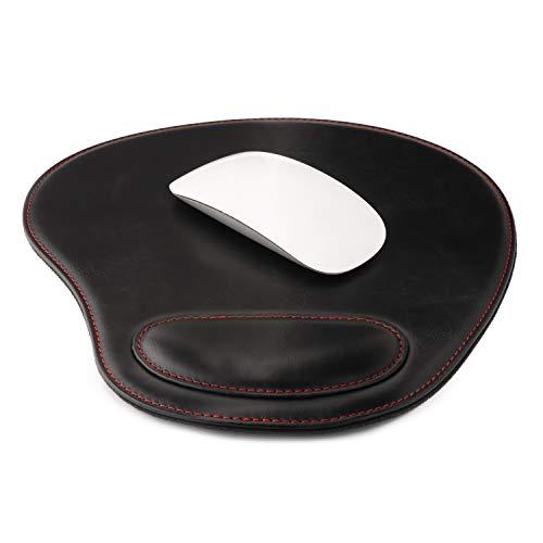 Londo Leder Oval Mouse Pad mit Handgelenkauflage (Schwarz)