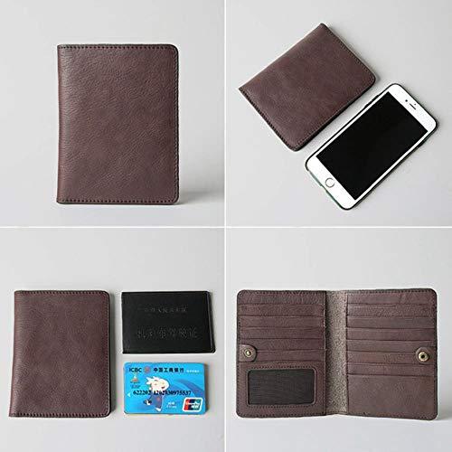EMOHKCAB Handgemaakte lederen paspoortkaarten Pack 13 stuks Bank creditcard Case Vintage visitekaartje tas Cash Pocket dunne kaart portemonnee, koffie