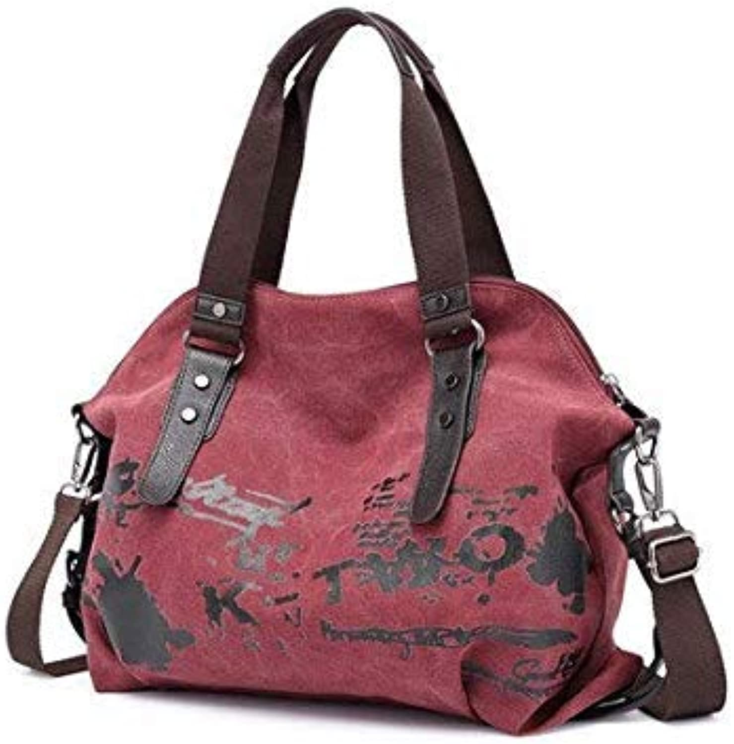 Bloomerang Women's Shoulder Bags Vintage Graffiti Canvas Handbags Famous Designer Female Shoulder Bags Ladies Totes Fashion Large Handbags color Red 49x12x35cm