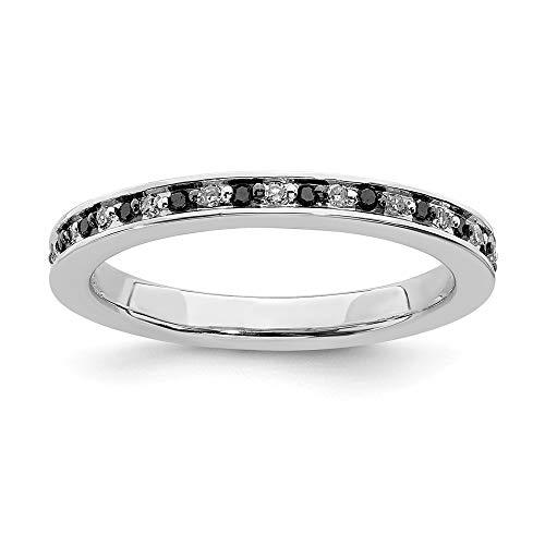 Plata esterlina expresiones apilable de blanco y negro anillo diamante en bruto - tamaño J 1/2 - JewelryWeb