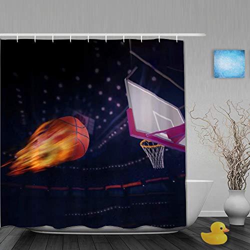 NISENASU Poliéster Cortina de Baño,Disparar Baloncesto Vuela a la Canasta con Fuego,Material Resistente al Agua,Cortinas Durable 3D de Ducha 180 x 180 CM