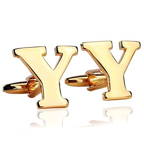 AmDxD Bijoux Chemises Collections de boutons de manchette pour homme Lettre de l'alphabet Y Doré Environ 18 20