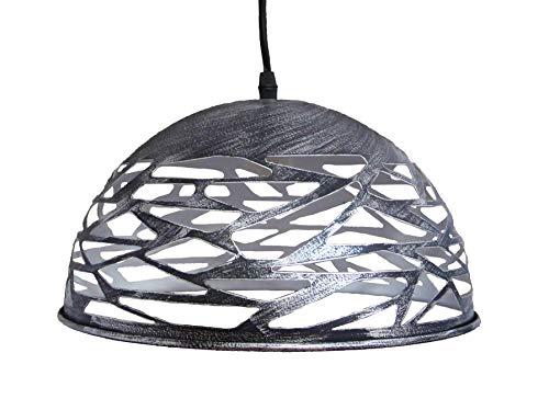 Suspension métal design style industrielle finition noir patinée gris diamètre 30 cm hauteur 18 cm hors fils réglable hauteur total 100 cm Douille/ampoule 1 X E27 60 watt maxi non incluse
