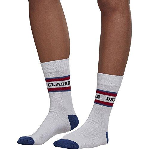 Urban Classics Herren Logo Stripe Sport 2-Pack Socken, Mehrfarbig (White/Red/Blue 01285), 47/50