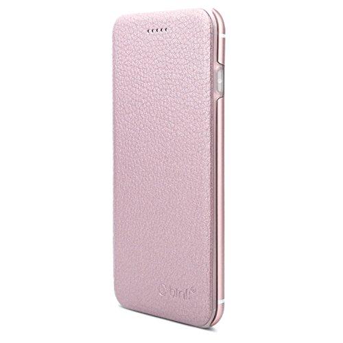 OKCS Binli echt Leder Schutzhülle kompatibel mit iPhone 6 Plus, 6s Plus mit stylischer Aluminium Rückseite Hard Cover Flip Case - Rosa