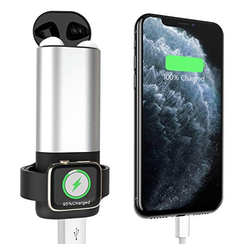 Coobetter 3 in 1 Wireless Power Bank Compatible with Airpods, 5200mAh Portable Charger for iPhone Xs Max/XS/XR/X/8 Plus/8 Smartphone, Apple Watch iWatch 3/2/1/AirPods 1/2
