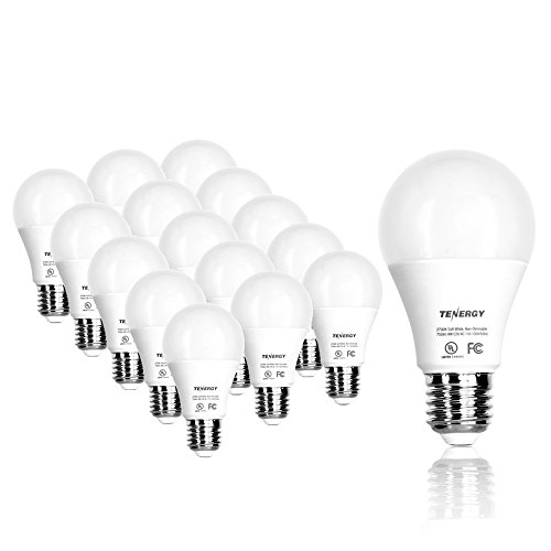 Tenergy 9W LED 60w Equivalent Light Bulb A19 LED Light Bulbs, 750 Lumens Energy Saving Lamp Soft/Warm White 2700K Lights, 16-Pack, Non-Dimmable