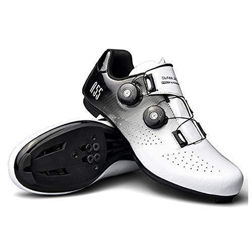 Zapatillas de Ciclismo Hombre Mujer Bicicleta de Carretera Zapatillas de Montar Hebilla Tacos Transpirables Compatible Spd Compatible Para Carreras de Conducción en Interiores y Exteriores,White-37EU