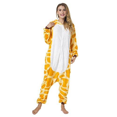 Katara 1744 -Giraffe Kostüm-Anzug Onesie/Jumpsuit Einteiler Body für Erwachsene Damen Herren als Pyjama oder Schlafanzug Unisex - 5