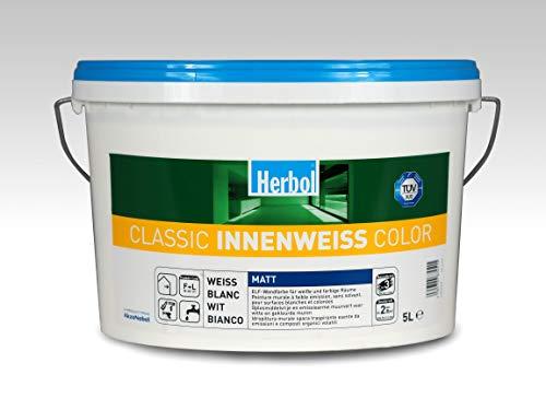 Herbol Classic Innenweiss Wandfarbe Renovierungsfarbe für weisse und färbige Wände | Farbe: weiss Matt | 5 Liter