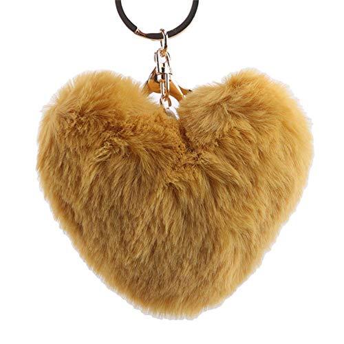 GRAYSONGMS Schlüsselanhänger aus Metall, einfarbig, Liebeskugel aus Metall, Plüsch, Auto-Anhänger, Mädchen, Geschenk, Bekleidungszubehör, Gelb