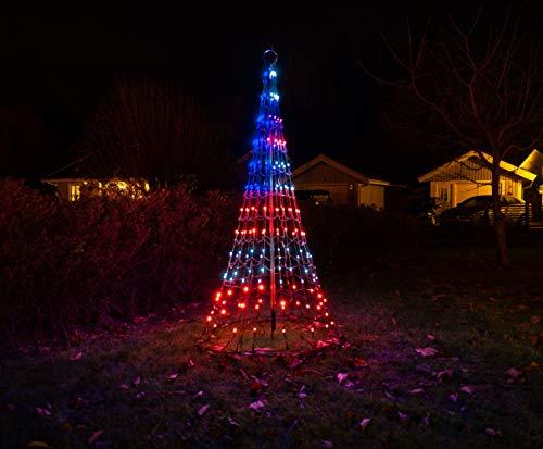 FLAGPOLE Christmas Tree Wall Mounted- 6FT - 192LED - US Flag