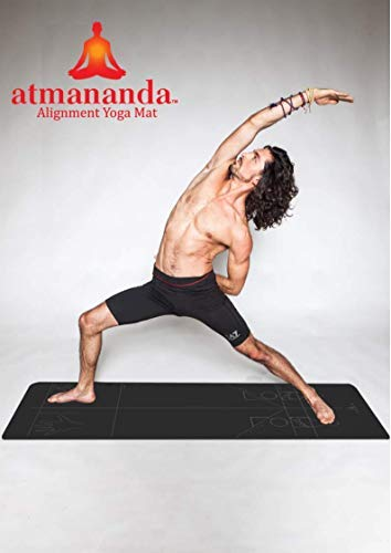 Atmananda Black Yoga Mat, Premium Natural Rubber Top, Educational Alignment Lines, Good for All Yoga Styles, Lightweight, Designed to Help Protect Your Joints (Large)