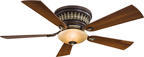 Minka-Aire F544-BCW Flush Mount, 5 Bronze Blades Ceiling fan with 80 watts light, Belcaro Walnut