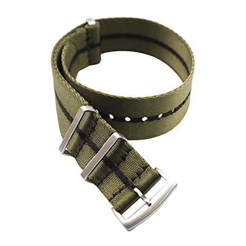 Correas NATO de Nylon. Cinturón de Seguridad. Correa de Reloj de Resistente Diseño Militar Tamaños (18mm, 20mm, 22mm) (20mm, Verde Raya)