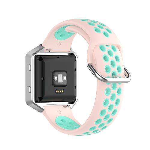 KINOEHOO Correas para relojes Compatible con Fitbit Versa/Versa 2/ Versa Lite/Blaze Pulseras de repuesto.Correas para relojesde siliCompatible cona.(Verde azulado rosa claro)