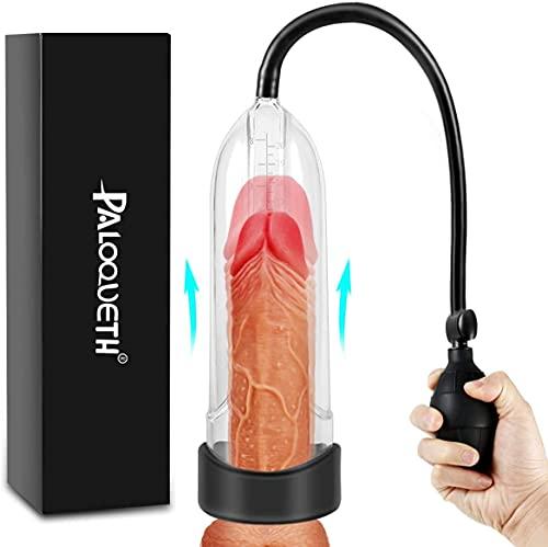 Penispumpen Sexspielzeug mit Langlebiger Hülse für Penis Erektion Vergrößerung, PALOQUETH Masturbator Cup mit Klarem Zylindermessmarker, Schnelllüftungsventil für Anfänger Penis Stimulation