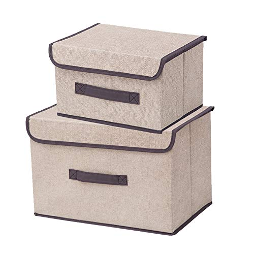 LBHDMZJK Two-Piece Foldable Storage Box with Lid and Handle, Suitable for Clothes, Cosmetics, Books, Toys, Snacks, Etc. (Creamy-White)