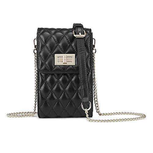 Cadena de teléfono móvil Messenger Bag Mujer Mini Salvaje Cuero Genuino Nuevo Rhombic Piel de oveja Pequeño Crossbody Bolso de hombro, Black, Small