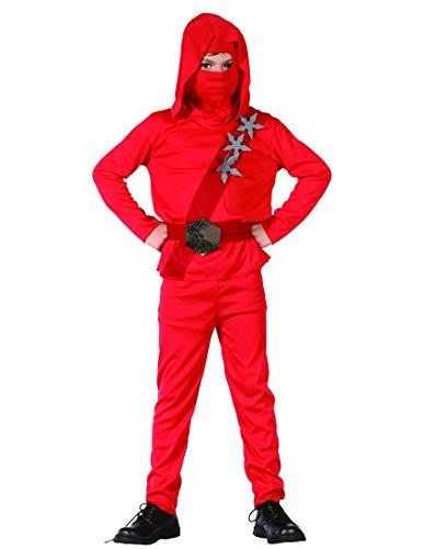 DEGUISE TOI Déguisement Ninja Rouge étoiles garçon - L 10-12 Ans (130-140 cm)