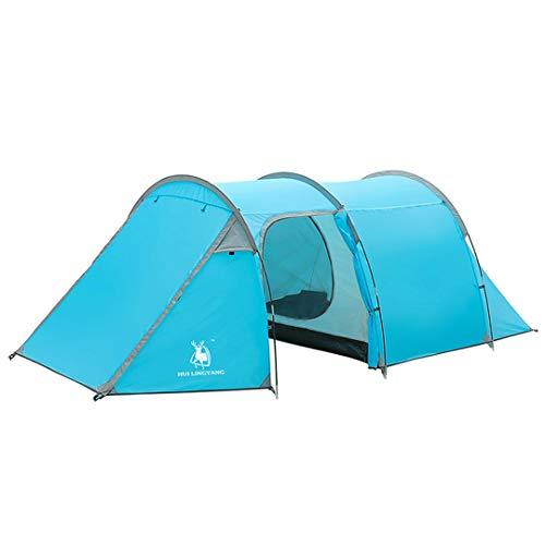 Carpa Camping al Aire Libre con Habitaciones de un Dormitorio Doble Capa Impermeable a Prueba de Lluvia 2500 túnel Grande Tienda de la Familia 2-4 Personas Dodger Blue