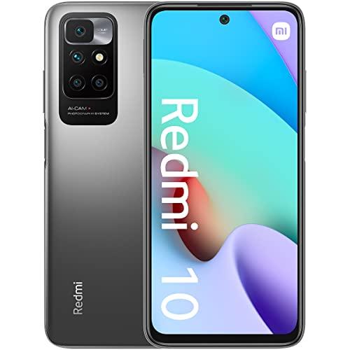 Xiaomi Redmi 10 - Smartphone 4+128 GB, 6,5' FHD+ 90 Hz DotDisplay, MediaTek Helio G88, 50MP cámara cuádruple con IA, 5000 mAh, Gris (Versión ES/PT)