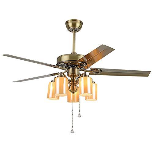 CXSMKP Fernsteuerungs-LED-Ventilator-Licht-Glas-Lampenschirm Aus Holz Deckenventilator Lampe Antike Wohnzimmer Schlafzimmer Retro E14 Pendelleuchte
