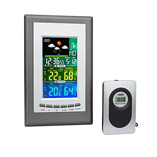 L.HPT Multifunktionale kabellose Wetterstation LCD-Alarm mit farbigem Thermo-Hygrometer für den Innen- und Außenbereich Elektronische Uhr