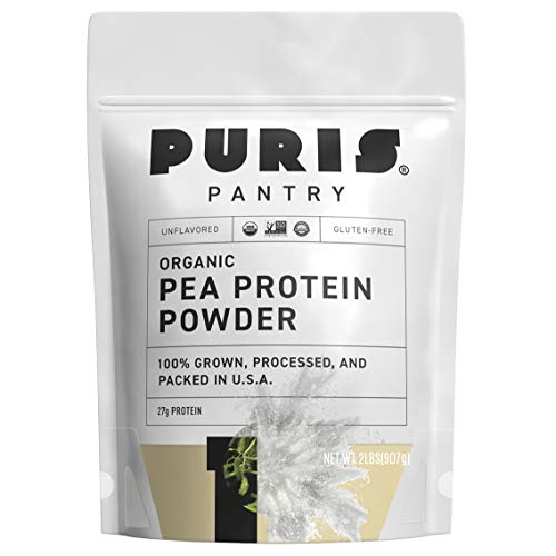 PURIS Organic Pea Protein Powder - 100% Grown, Processed and Packed in USA - 2 LB Unflavored - Certified Organic, Vegan, Gluten-Free, Non-GMO - Plant Based Protein Powder - Keto-Friendly, BCAA