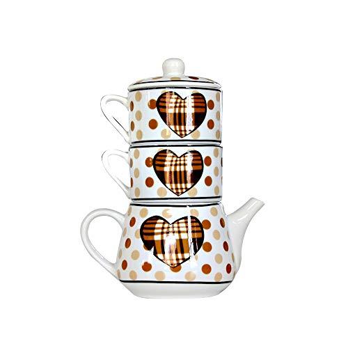 Langyuan Tarde theeset, 3-laags, creatieve combinatieset, 1 kop, 2 kopjes koffie, past zich aan het thee-ei aan.