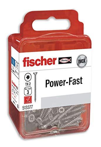 fischer - Tornillos FPF-ST, caja de tornillos para madera, rosca total de 3,0X25, Inox A2; Blister de 25 Uds.