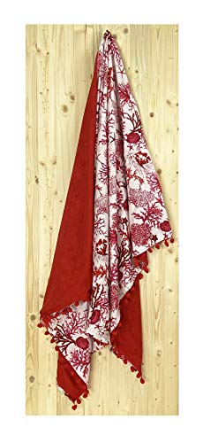 Tex family Kikoo - Toalla de playa doble coral rojo de algodón y rizo con mochila Keep