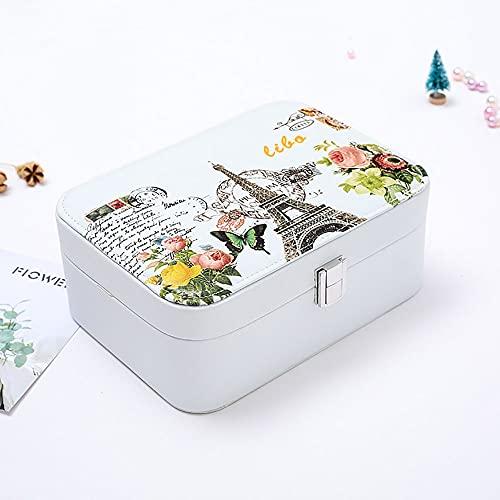 Recet Joyero de doble capa, caja de almacenamiento de joyas, caja de almacenamiento de piel sintética, reloj, collar, pendientes y anillo. Caja de embalaje simple (torre de pizarra blanca)