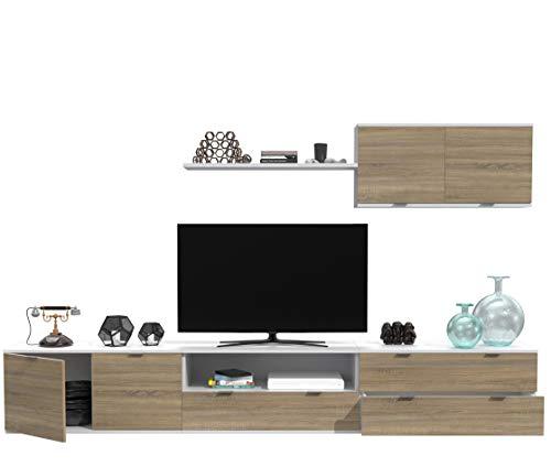 Dormidán- SL11, Mueble de Comedor, Conjunto de Salon, módulo bajo, modulo Colgante (Blanco/Roble, 3 Metros)