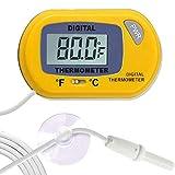SunGrow Termómetro digital Betta, color amarillo, lee con precisión la temperatura del acuario, mantiene el hogar nativo de Betta, fácil de instalar, viene con 2 ventosas, 1 paquete
