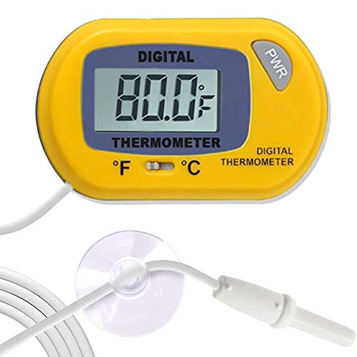 SunGrow, Termómetro digital LCD para Betta, amarillo, lee con precisión la temperatura del agua del tanque, mantiene el hábitat real de Betta, fácil de instalar, viene con 2 ventosas y batería, 1 paquete