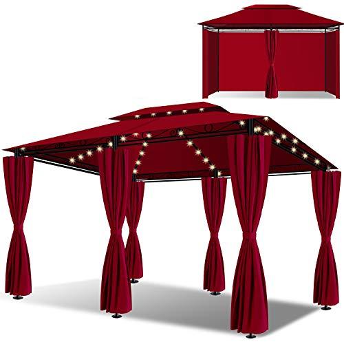 KESSER® - Pavillon 3x4m LED inkl. Seitenwände mit Reißverschlüsse, mit LED Beleuchtung + Solarmodul, Eckig Festzelt Partyzelt Gartenlaube Gartenzelt Luxus Gartenpavillon UV-Schutz 50+, Rot