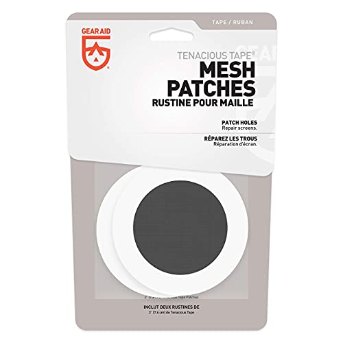 """GEAR AID Tenacious Tape Mesh Patches for Tent and Bug Screen Repair, 3"""" Rounds, Black Mesh"""