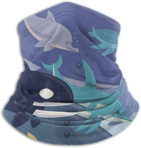 Blue Sea Animal scaldacollo -Headwear Ampia fasce foulard Wrap Maschera, Buff Fascia per capelli, tubo Pesca Maschera Viso Maschera Bandana Sport Sciarpa Uomini Donne