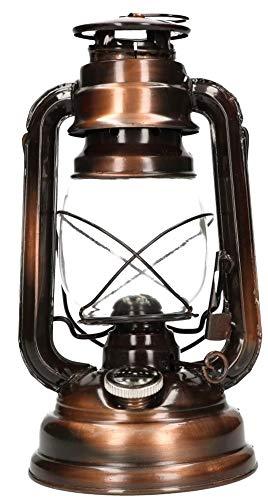 KOTARBAU Öllampe Mit Dochthalter Petroleumlampe Befüllbar Antik Sturmlaterne Glaskolben Tischlampe Laterne Oil lamp Gartenlampe Bronze Stehen Hängen
