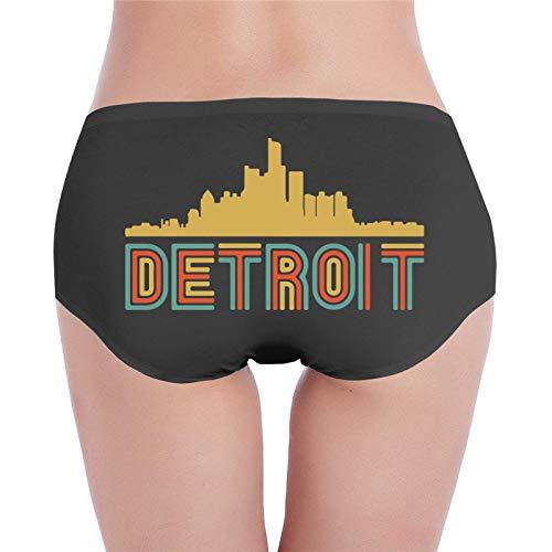 Bragas de algodón suave de Detroit Michigan Skyline2 de estilo retro, cintura baja, ropa interior informal