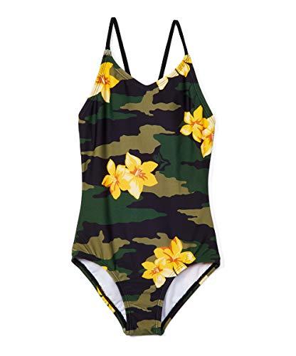 Kanu Surf Girls' Daisy Beach Sport 1-Piece Swimsuit, Rylie Army Green, 12
