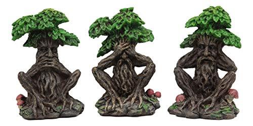 Ebros Wiccan Forest Spirit Deity See Hear Speak No Evil Greenman Tree Ents Statue Set of Three 5.25' Tall Celtic Neopagan Cernunnos Decorative Figurines