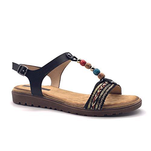 Angkorly - Zapatillas Moda Sandalias Sandalias Bohemia Folk/Etnico Casual/Informal Mujer fantasía Piedra Rayas tacón Plano 2 CM - Negro P206 T 39