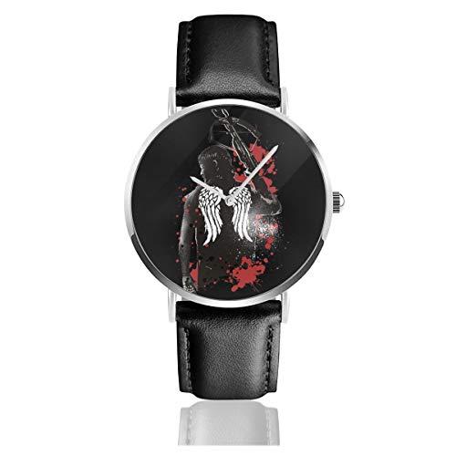 Unisex Business Casual Walking Dead Daryl Dixon Flügel und Armbrust Uhren Quarz Leder Uhr mit schwarzem Lederband für Männer Frauen Junge Kollektion Geschenk